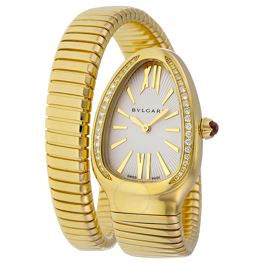 a988e3ba2cb Bvlgari Serpenti Tubogas Silver Opaline Dial 18kt Yellow Gold Quartz Ladies  Watch