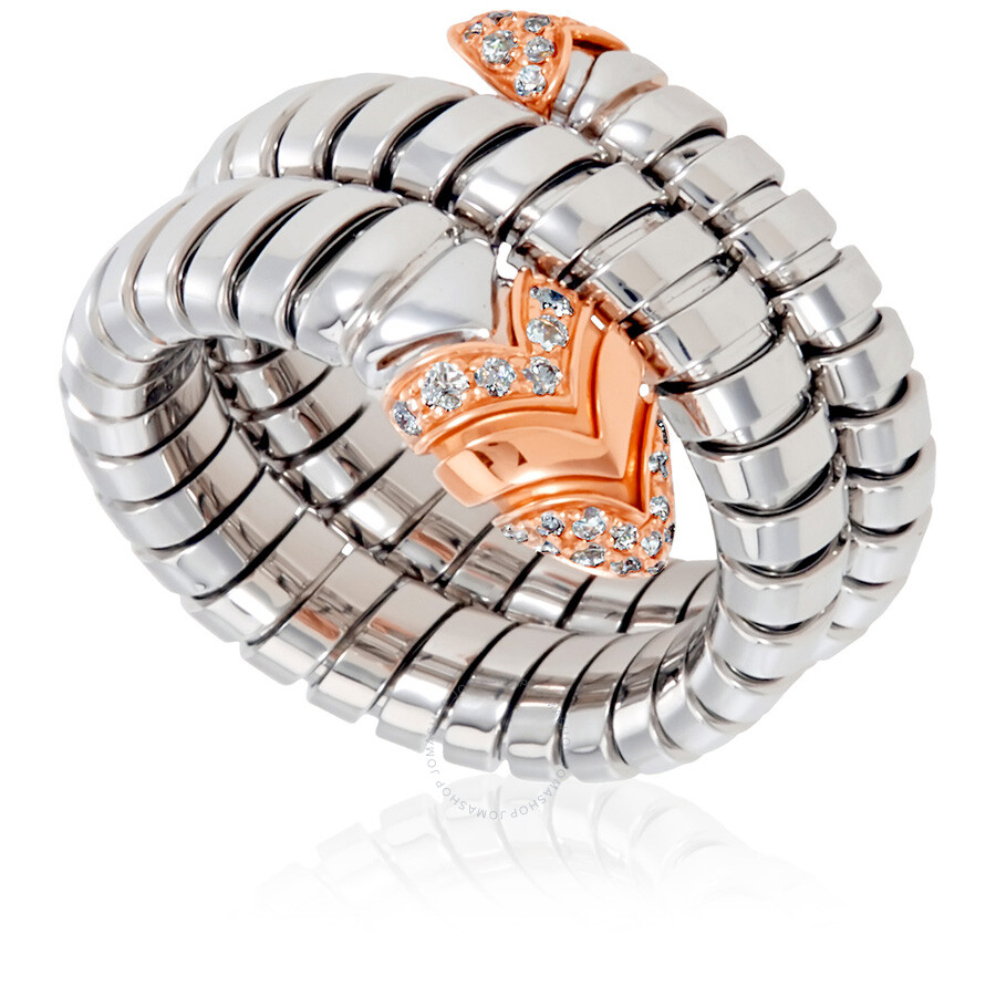 bvlgari serpenti tubogas stainless steel and 18k rose gold ring move your mouse over image or click to enlarge