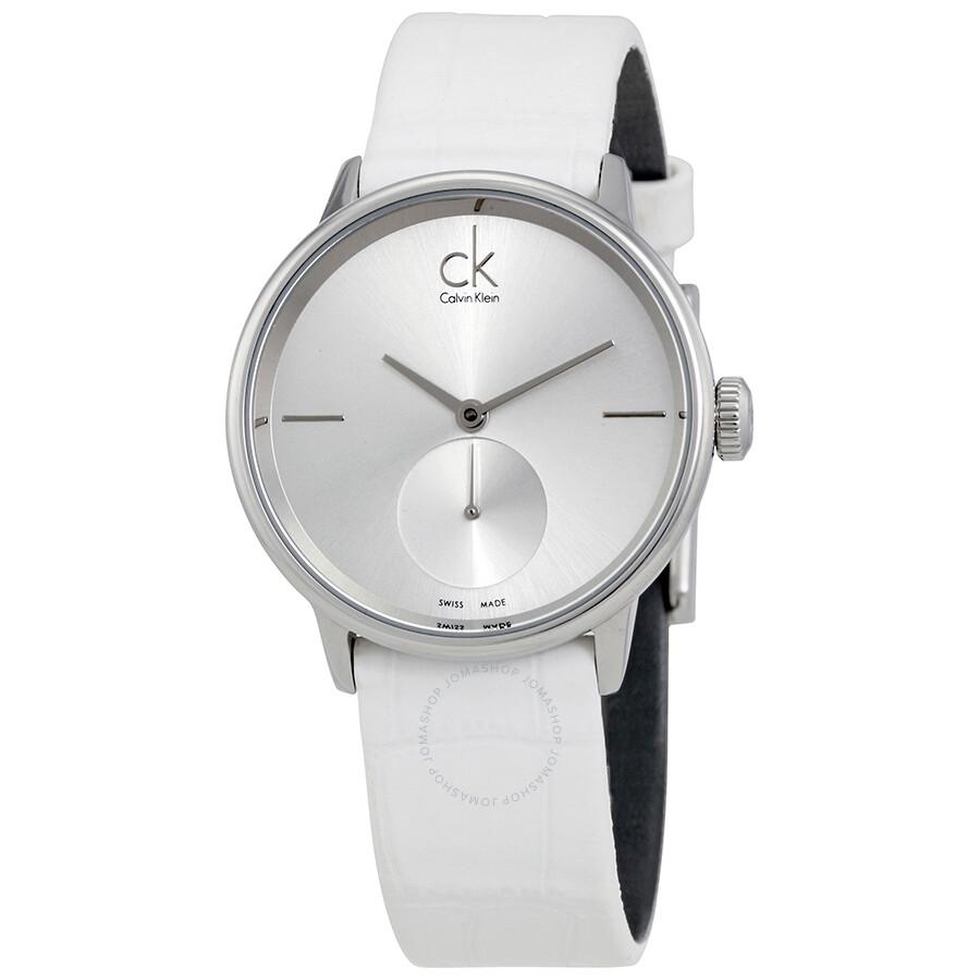 2cfbb2b3f Calvin Klein Accent Silver Dial White Leather Ladies Watch K2Y231K6 ...