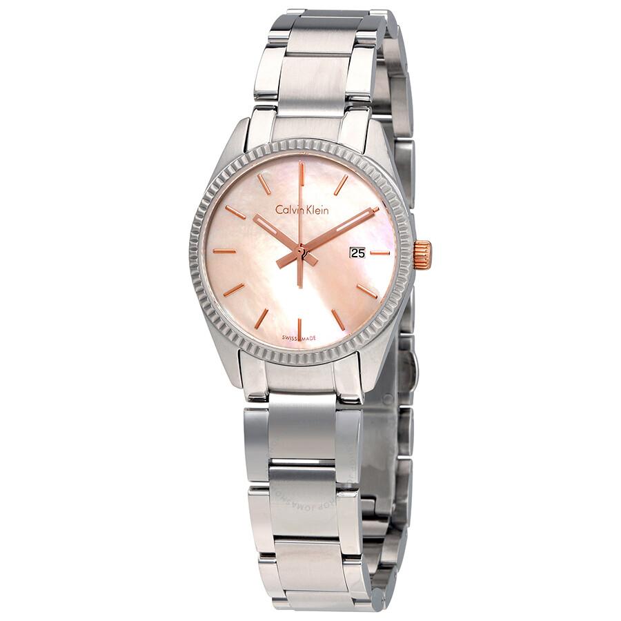 Calvin klein alliance mother of pearl dial ladies watch k5r33b4h calvin klein watches jomashop for Mother of pearl dial watch