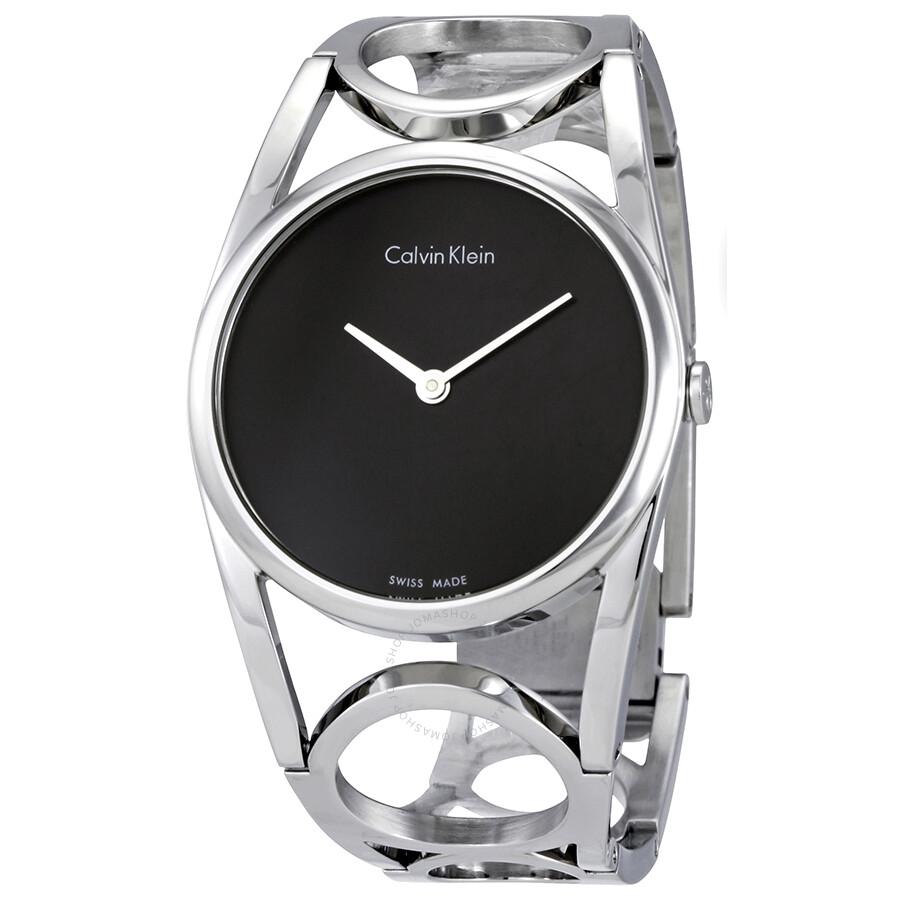 Calvin klein round black dial stainless steel ladies watch k5u2m141 calvin klein watches for Ladies bangle watch