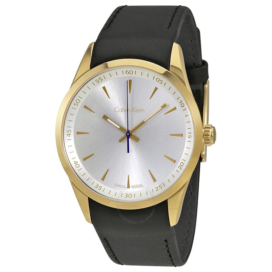 1e1b2e307 Calvin Klein Bold Silver Dial Black Leather Men's Watch K5A315C6 ...