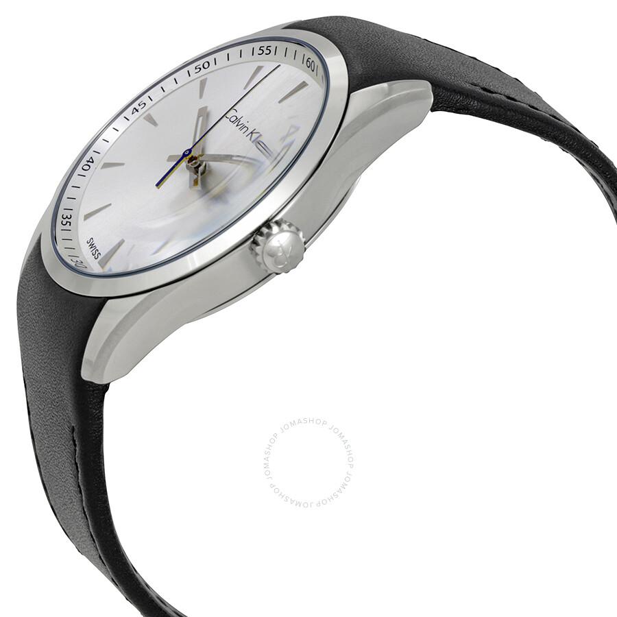 f4df71b5b ... Calvin Klein Bold White Dial Black Leather Men's Watch K5A311C6 ...