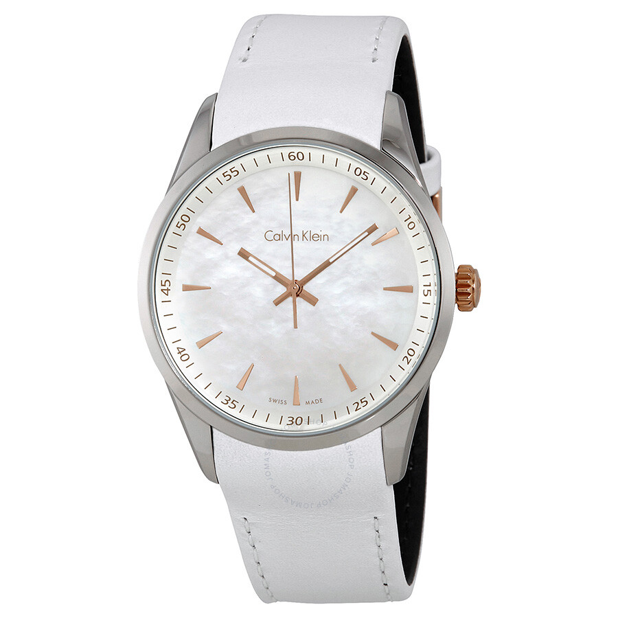 Calvin klein bold white mother of pearl dial watch k5a31blg calvin klein watches jomashop for Mother of pearl dial watch