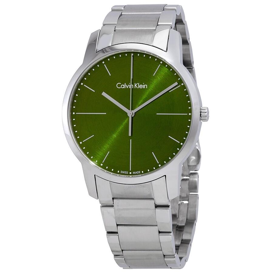268c29f82 Calvin Klein City Green Dial Men's Watch K2G2G14L - Calvin Klein ...