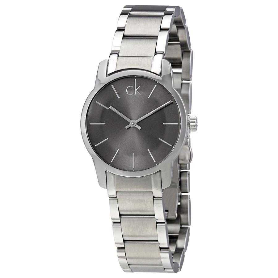 23e20df69 Calvin Klein City Grey Dial Ladies Steel Watch K2G23161 - Calvin ...