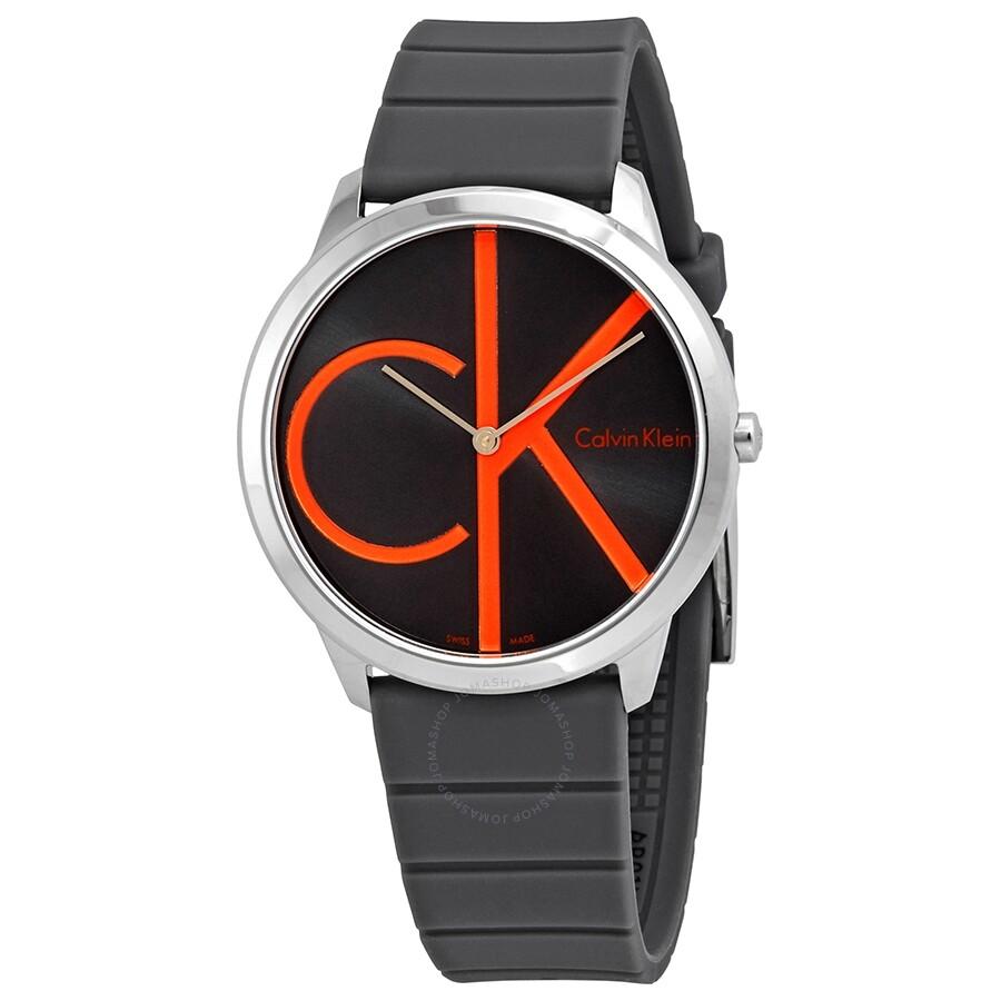 6a3e045c3d3 Calvin Klein Minimal Black Dial Men's Rubber Watch K3M211T3 - Calvin ...