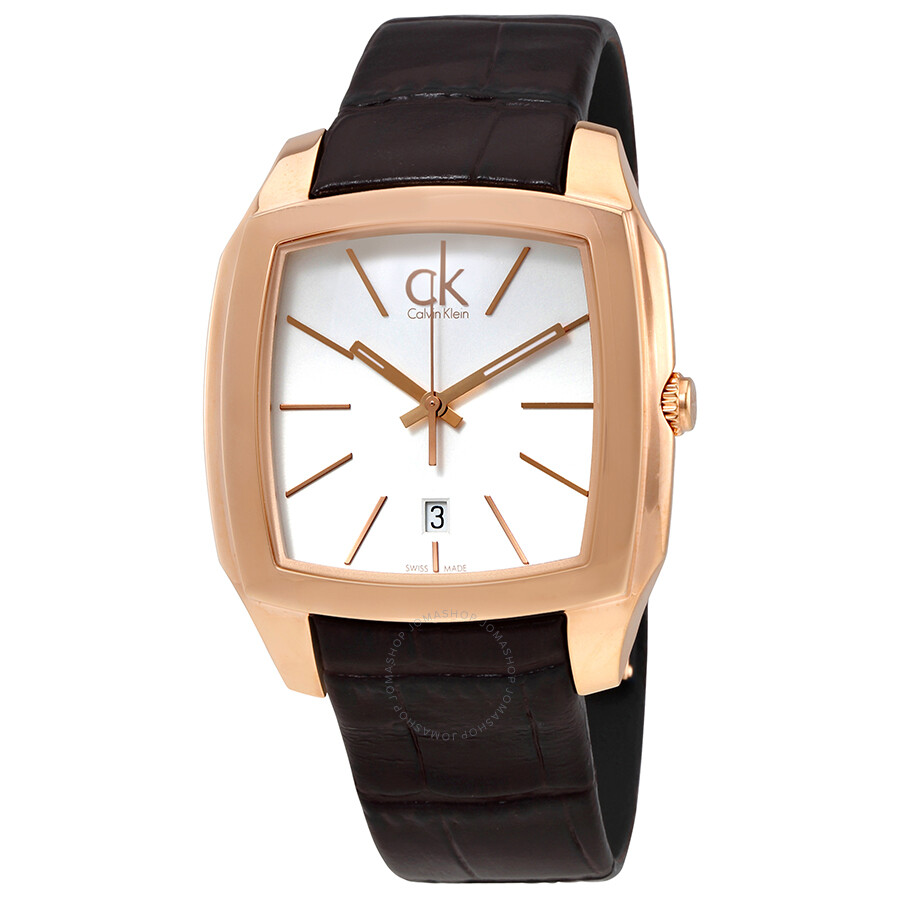 calvin klein recess silver dial men s brown leather watch k2k21620