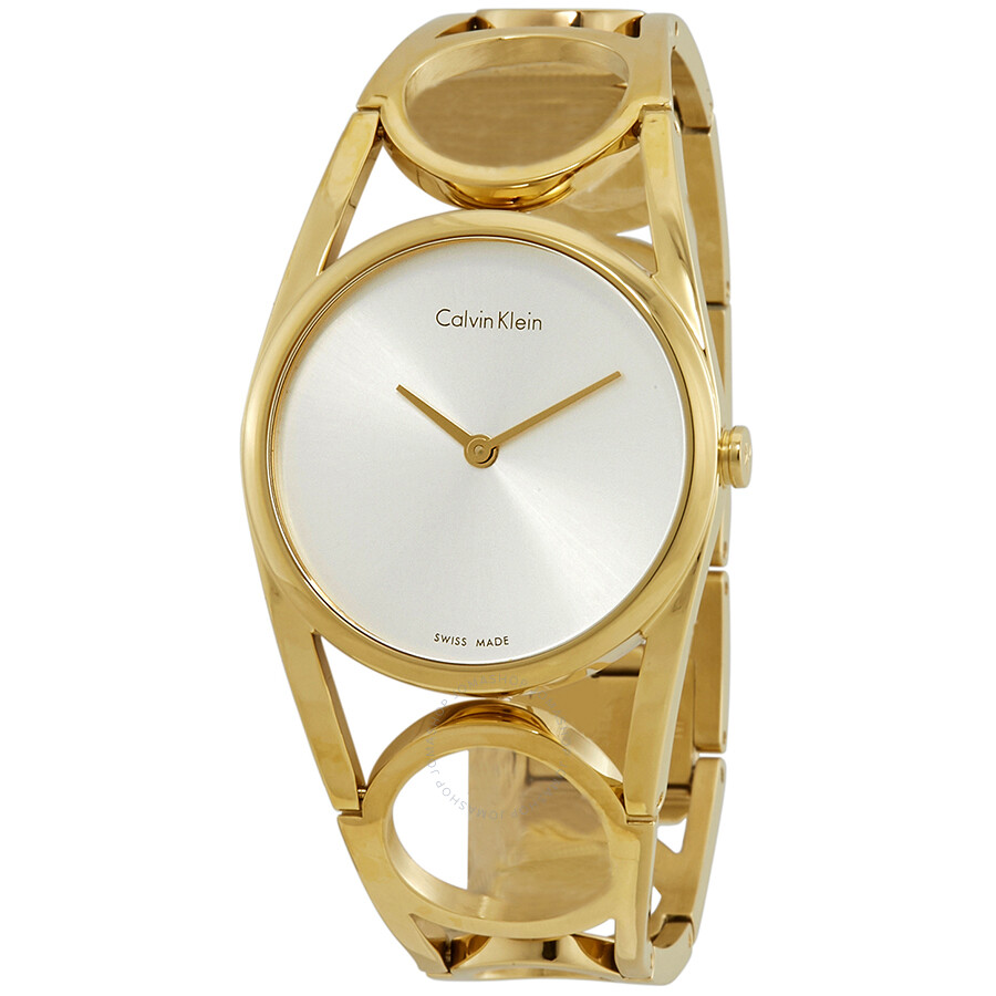 d946aa039a Calvin Klein Round Silver Dial Yellow Gold PVD Ladies Watch K5U2M546 ...