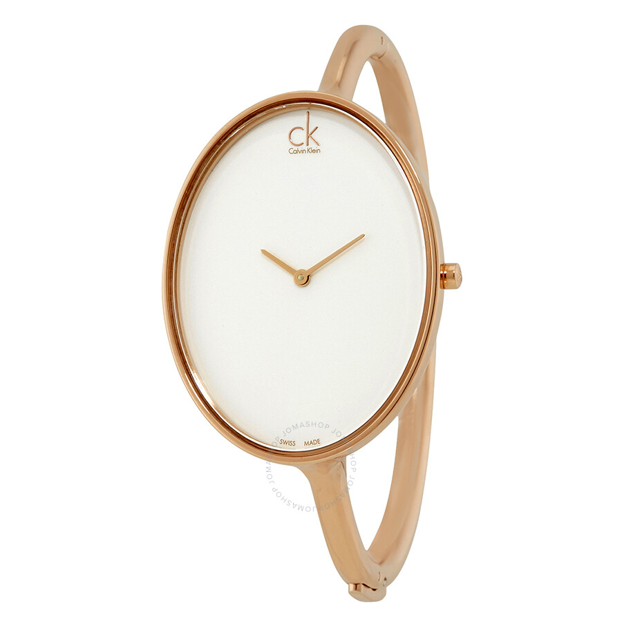 Calvin klein sartorially white dial bangle ladies watch k3d2m616 calvin klein watches jomashop for Ladies bangle watch
