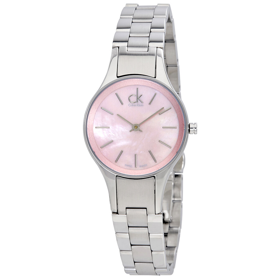 dcb9caa817 Calvin Klein Simplicity Pink Mother Of Pearl Dial Ladies Watch K432314E ...