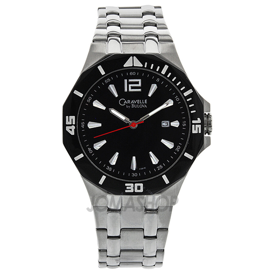 caravelle by bulova black dial stainless steel men s watch 45b110 caravelle by bulova black dial stainless steel men s watch 45b110