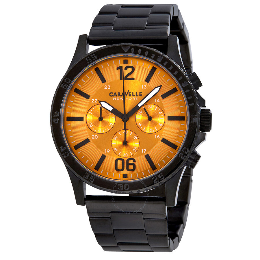 Caravelle by bulova orange dial men 39 s chronograph watch 45a108 bulova watches jomashop for Watches bulova