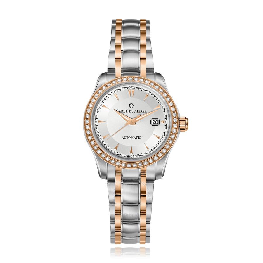 Manero AutoDate Automatic Diamond Silver Dial Ladies Watch 00.10911.07.13.31