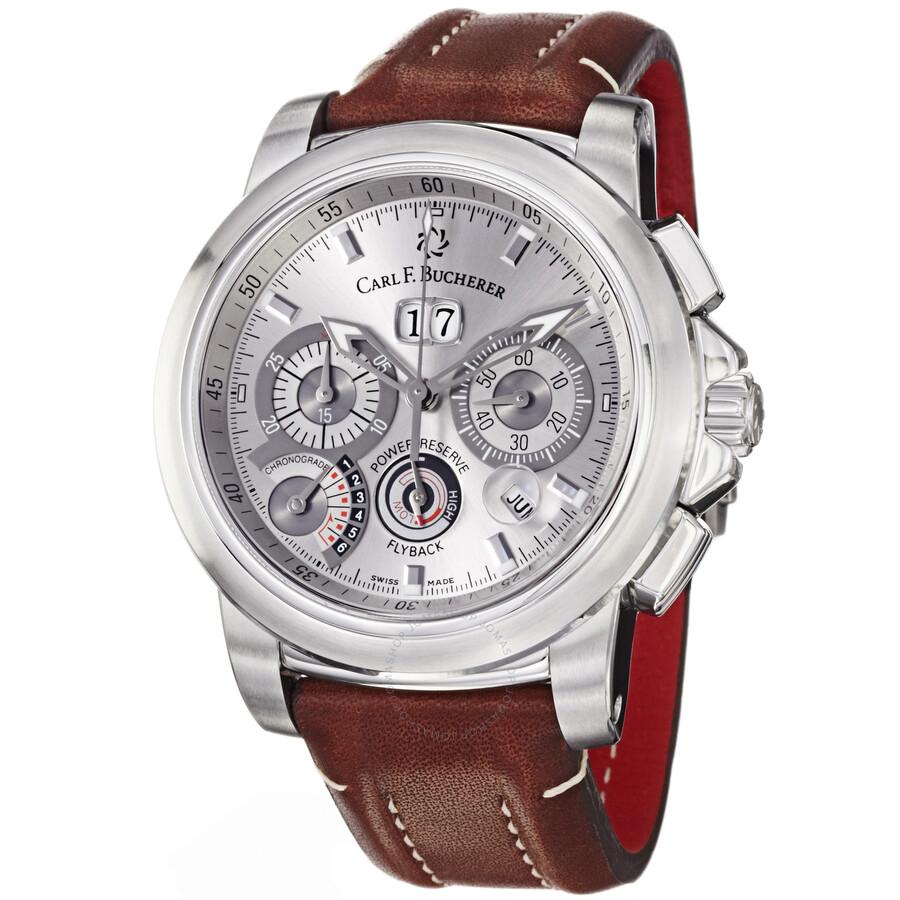 carl f bucherer patravi chronograde silver dial leather
