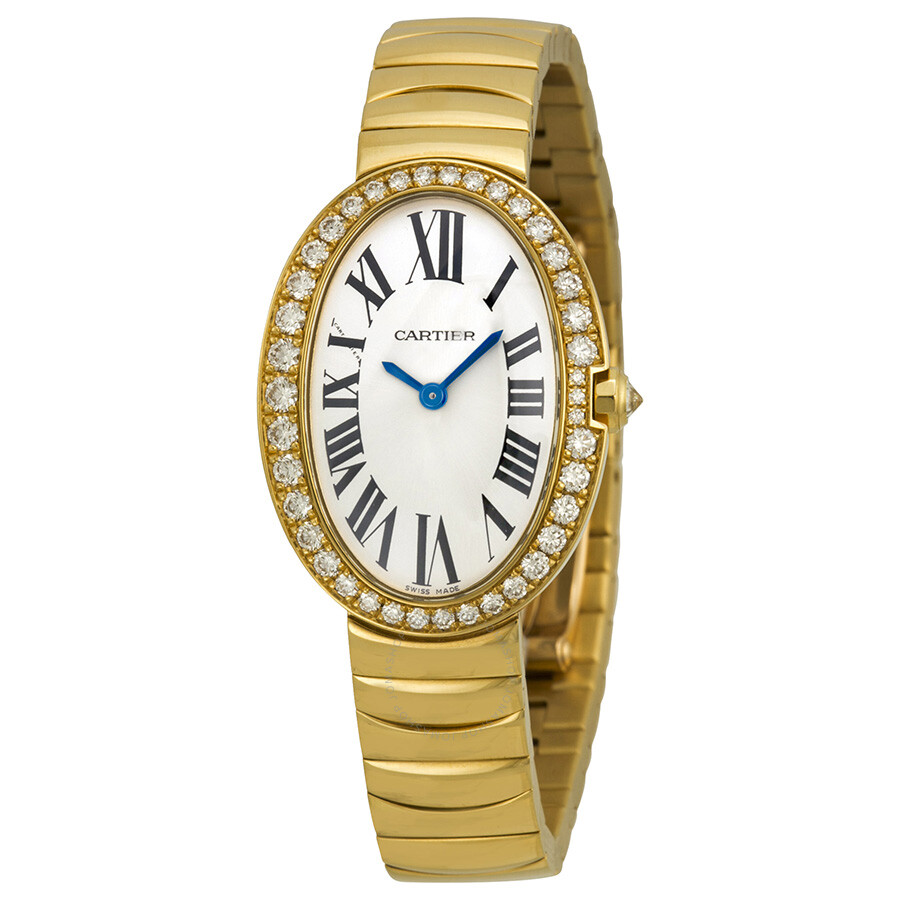 cartier baignoire silver 18kt yellow gold