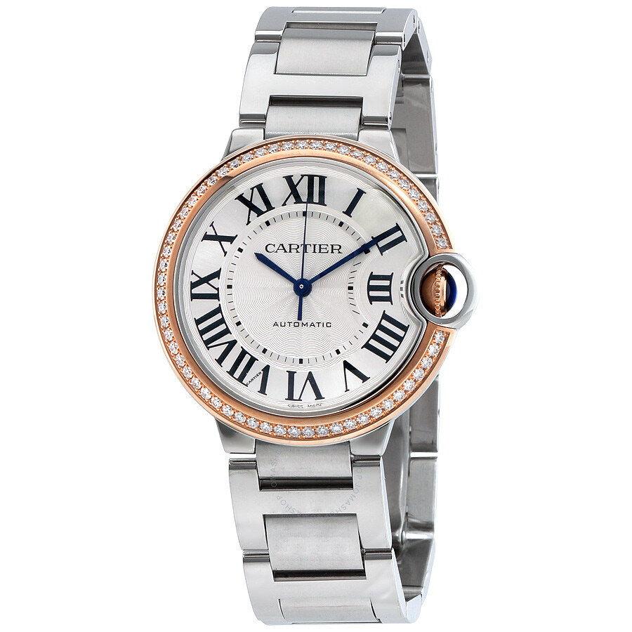 2e19b6f2463 Cartier Ballon Bleu Automatic 18Kt Rose Gold Diamond Steel Ladies Watch  WE902081 ...