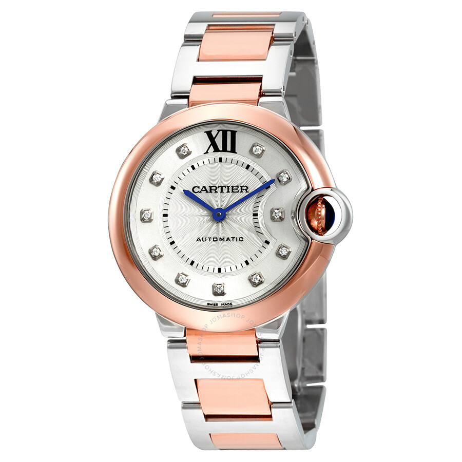 c806bcd03a1c Cartier Ballon Bleu Silver Diamond Dial Steel and 18K Pink Gold Automatic  Ladies Watch W3BB0007 ...