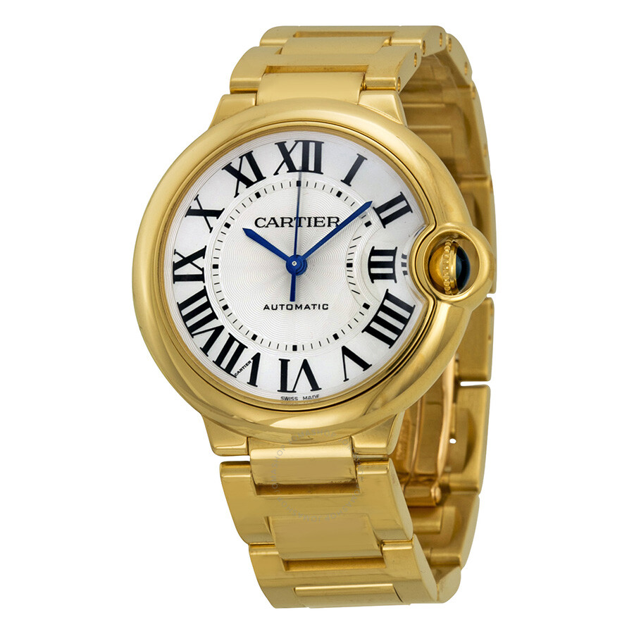 Cartier Ballon Bleu Medium Silver Opaline Dial 18kt Yellow Gold