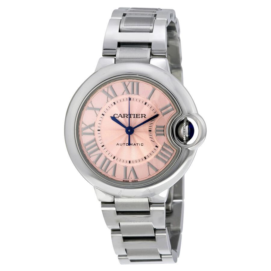 8e312f48274 Cartier Ballon Bleu Pink Dial Stainless Steel Automatic Ladies Watch  W6920100 ...