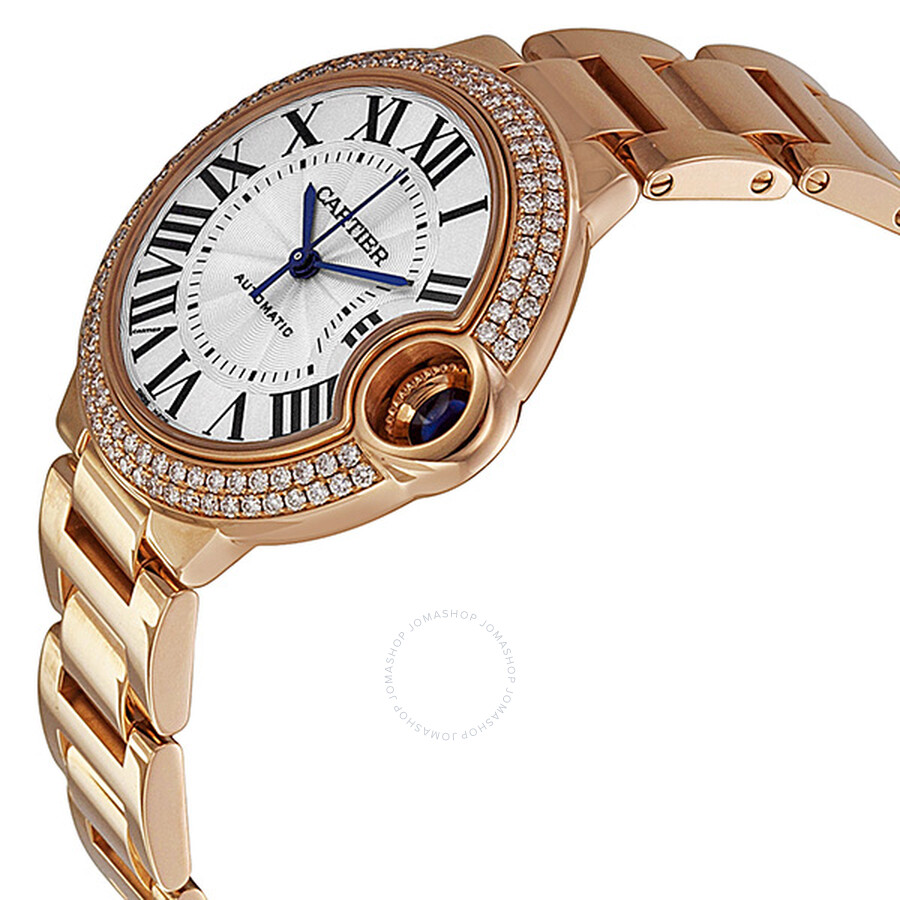 Ballon Bleu Silver Dial 18kt Rose Gold Diamond Ladies Watch WE902034