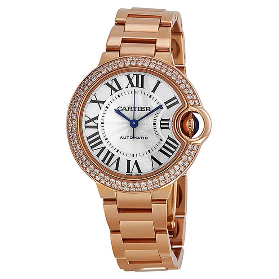 Cartier Ballon Bleu Silver Dial 18kt Rose Gold Diamond Ladies Watch  WE902034 ... 12e98fa55