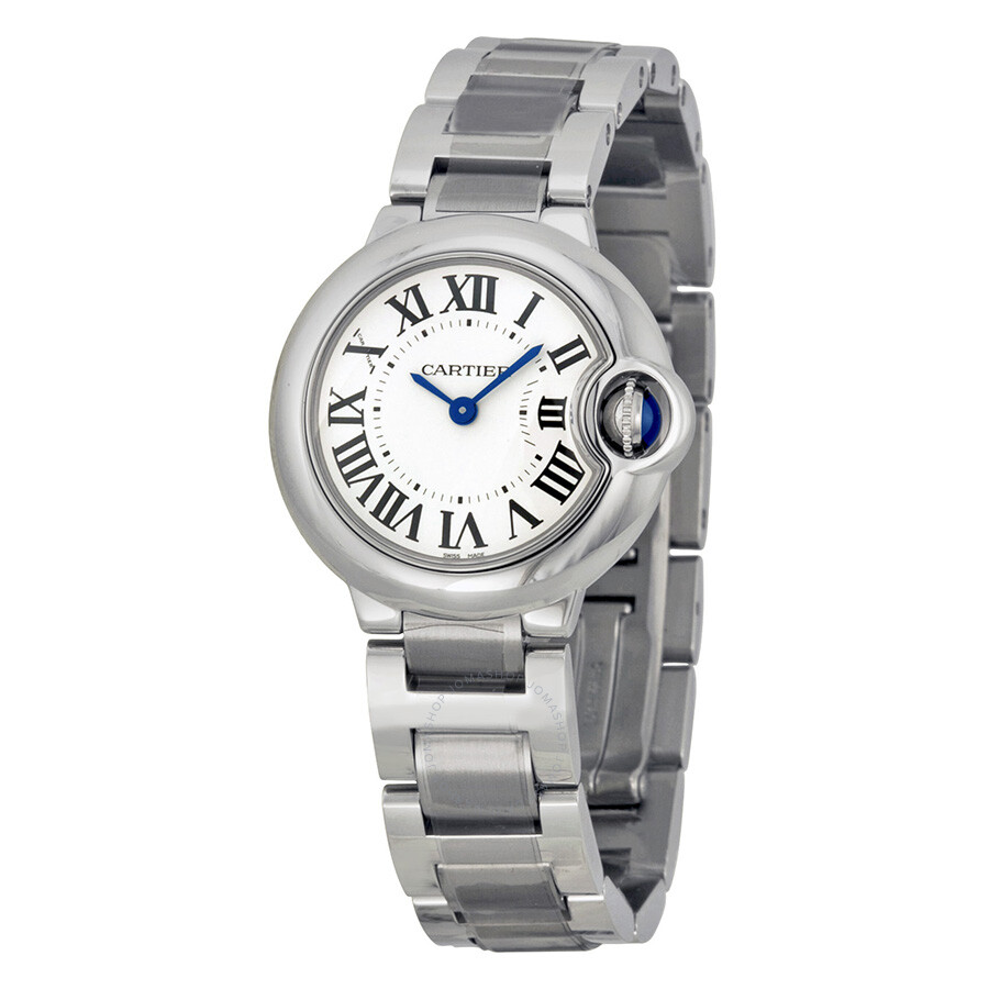 cartier ballon bleu silver dial stainless steel ladies watch w69010z4