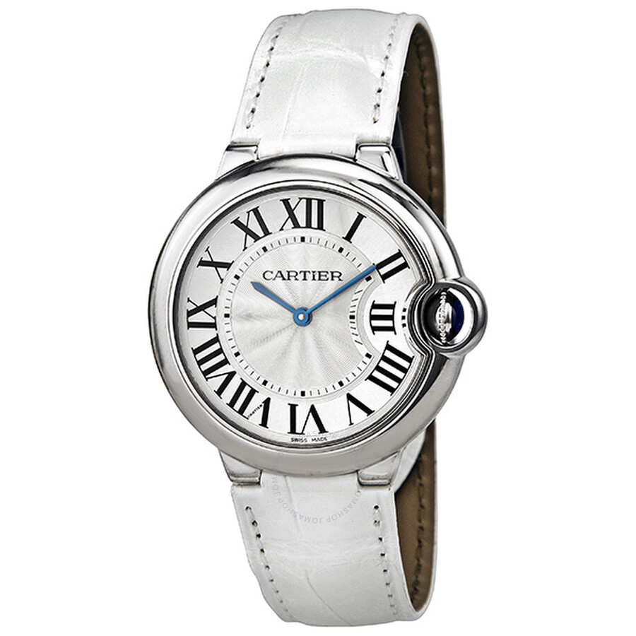 dd858db40b7 Cartier Ballon Bleu Silver Dial Stainless Steel White Leather Ladies Watch  W6920087 ...