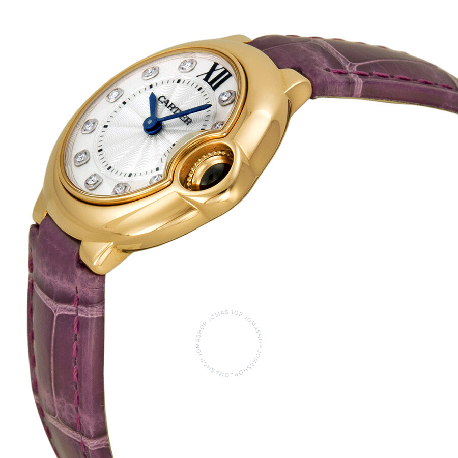 Ballon Bleu Silver Diamond Dial 18kt Rose Gold Purple Leather Ladies Watch WE902050