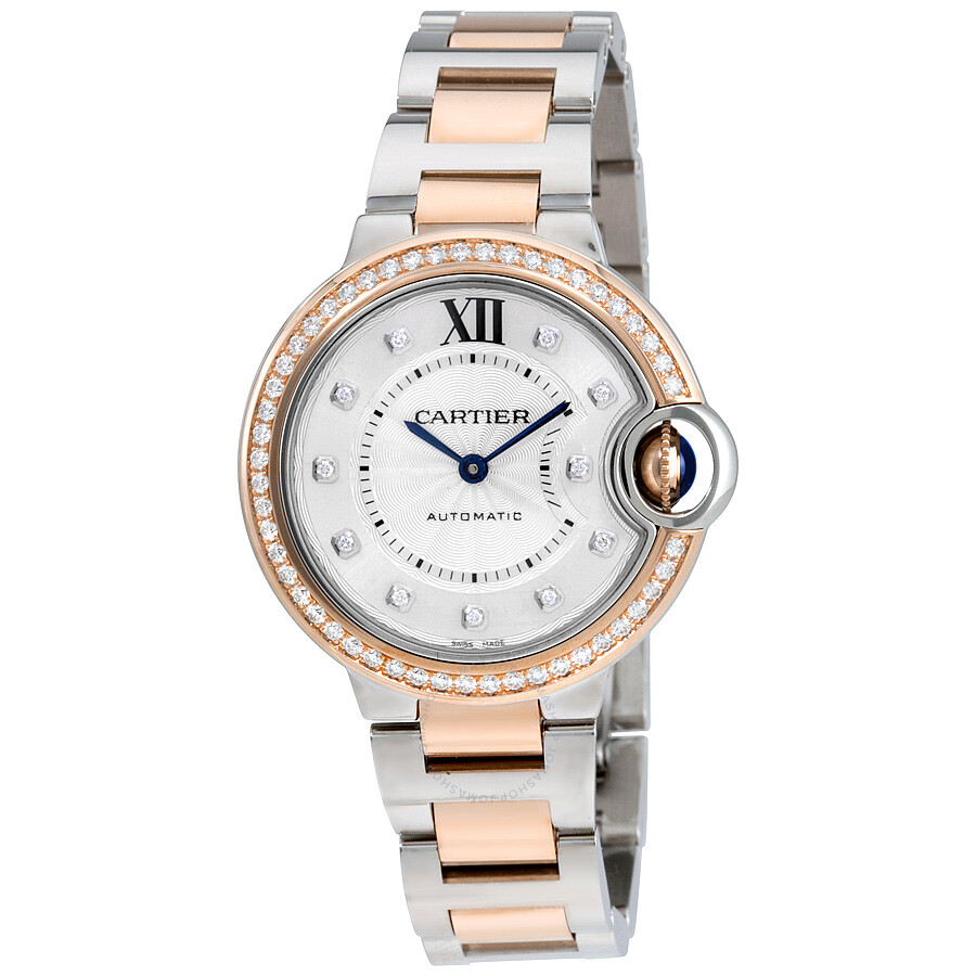 5a00c2688ba9d Cartier Ballon Bleu Silver Diamond Dial Steel and Rose Gold Ladies Watch  WE902077 ...