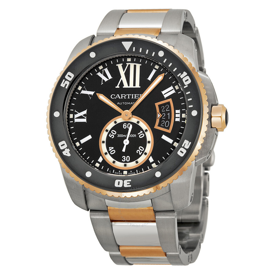 cartier calibre black dial steel and rose gold men s watch cartier calibre black dial steel and rose gold men s watch w7100054