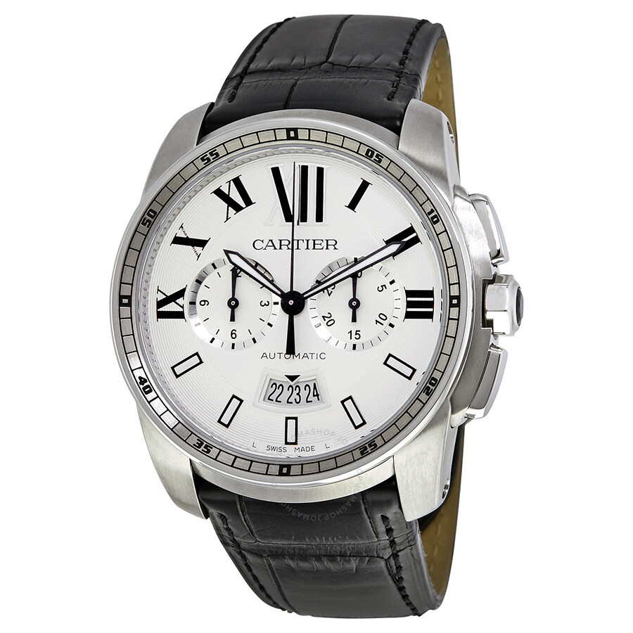 cartier calibre de cartier watches jomashop cartier calibre de cartier automatic silver dial men s watch