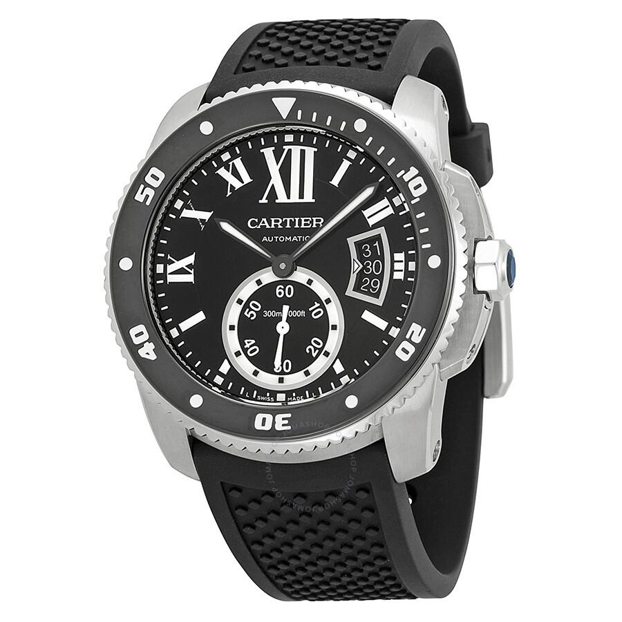 Cartier Calibre de Cartier Black Dial Rubber Men's Watch ...