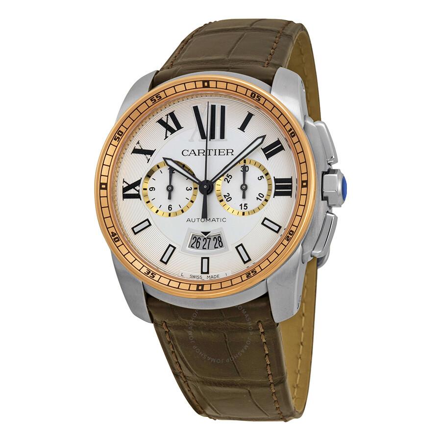 Cartier Calibre De Cartier Silver Dial Stainless Steel 18kt Pink Gold Brown  Alligator Men's Watch W7100043 ...