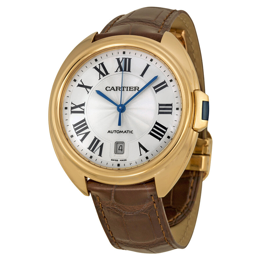 cartier cle automatic silver flinque dial 18kt rose gold