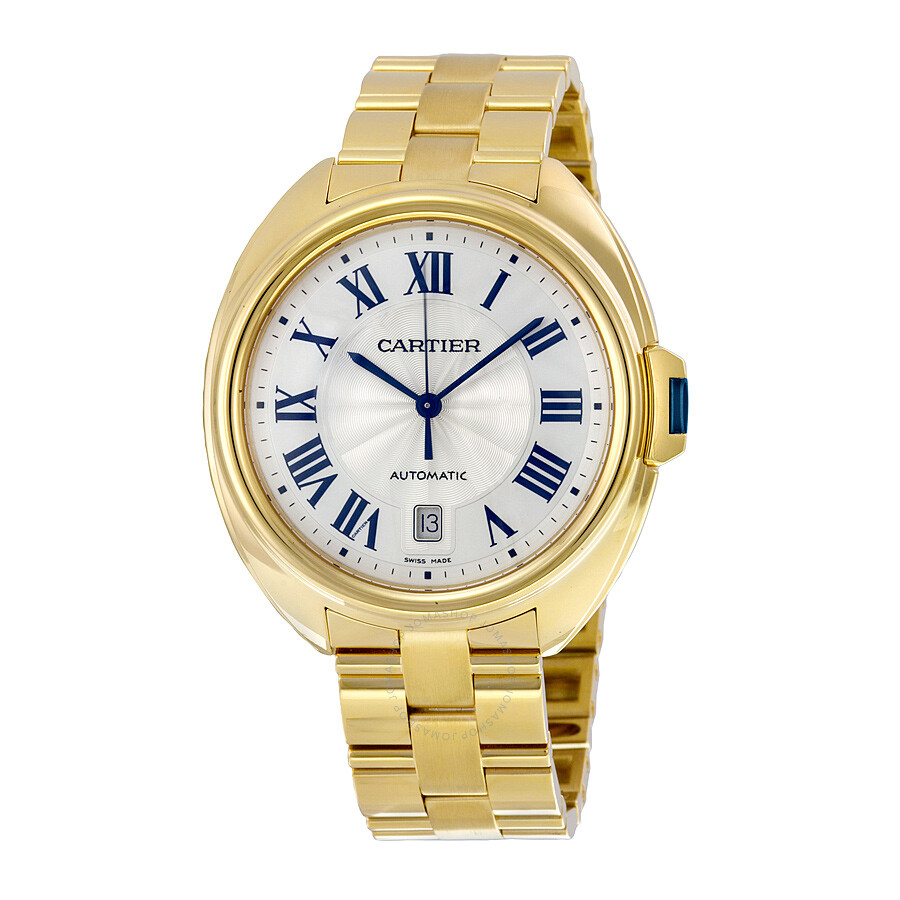 Cartier Cle Silvered Flinque Dial 18kt Yellow Gold Men S Watch