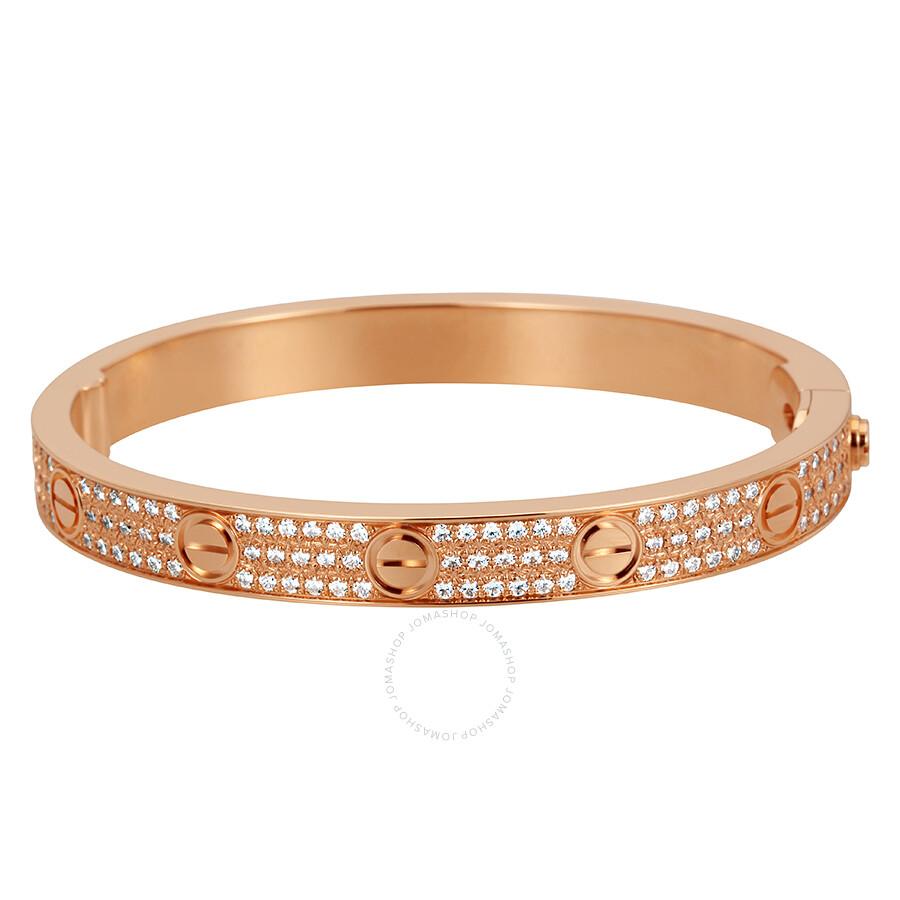 bf31ed875 Cartier LOVE 18K Pink GOld Diamond Pave Bracelet N6036916 - Ladies ...