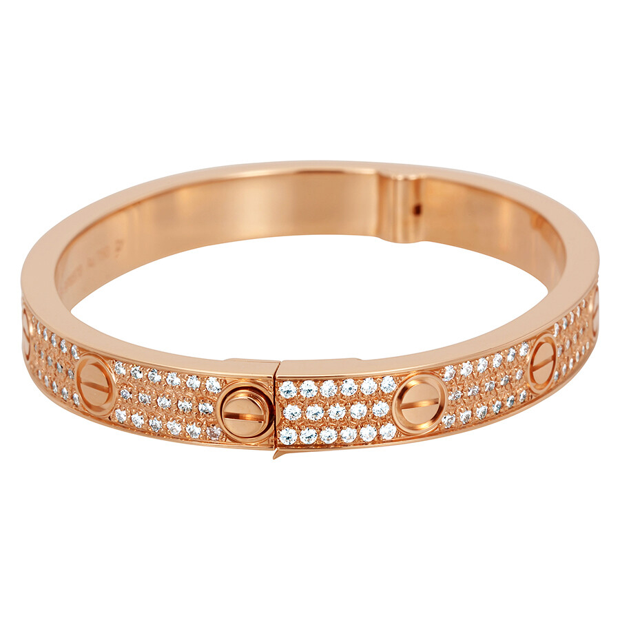 22ed762a5 Cartier LOVE 18K Pink GOld Diamond Pave Bracelet N6036916 - Ladies ...
