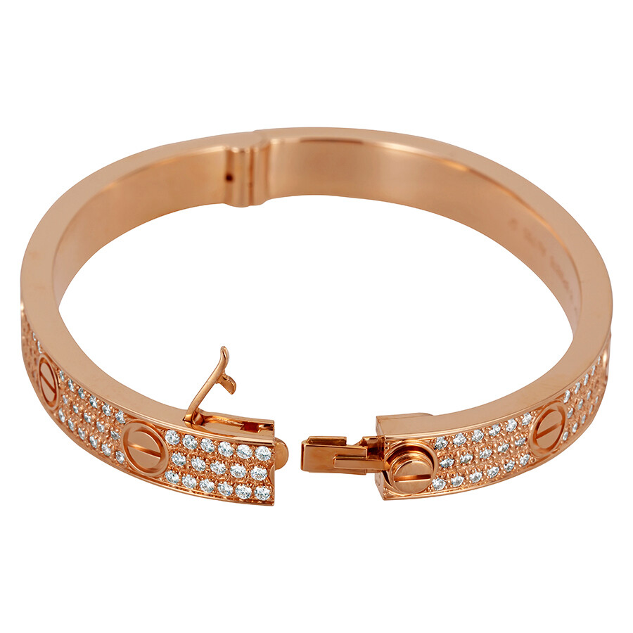 Cartier LOVE 18K Pink GOld Diamond Pave Bracelet N6036916 ...