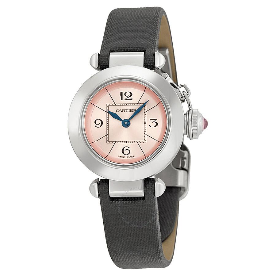 Cartier Miss Pasha Pink Dial Satin Strap Ladies Watch W3140026 ... 698dd58ba