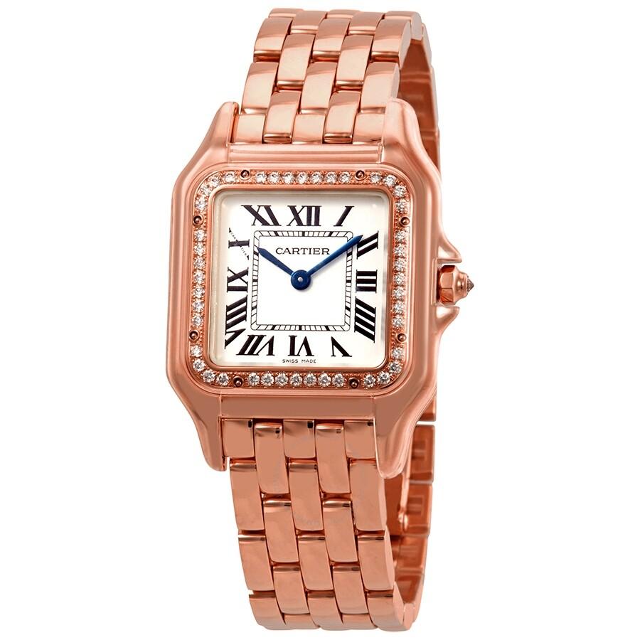 6a0ec82577 Cartier Panthere de Cartier Silver Dial Ladies 18kt Rose Gold Watch  WJPN0009 ...