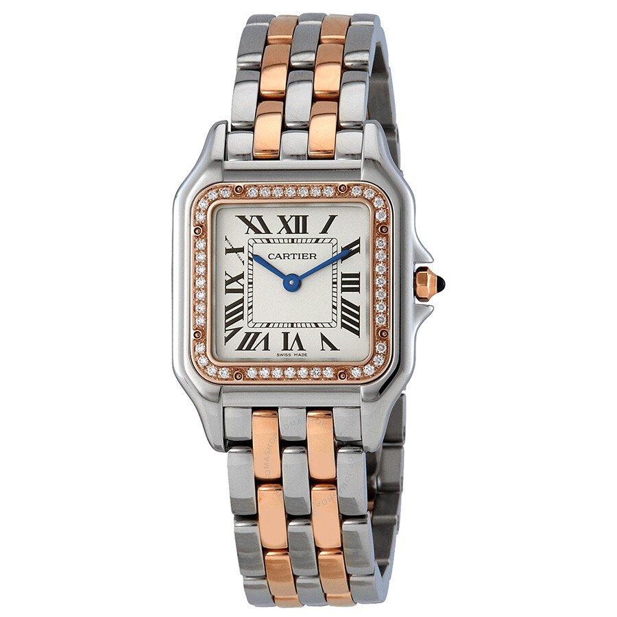 Cartier Steel Watch Panthere Silver Gold Ladies Medium 18kt Pink And W3pn0007 Dial 6gY7ybf