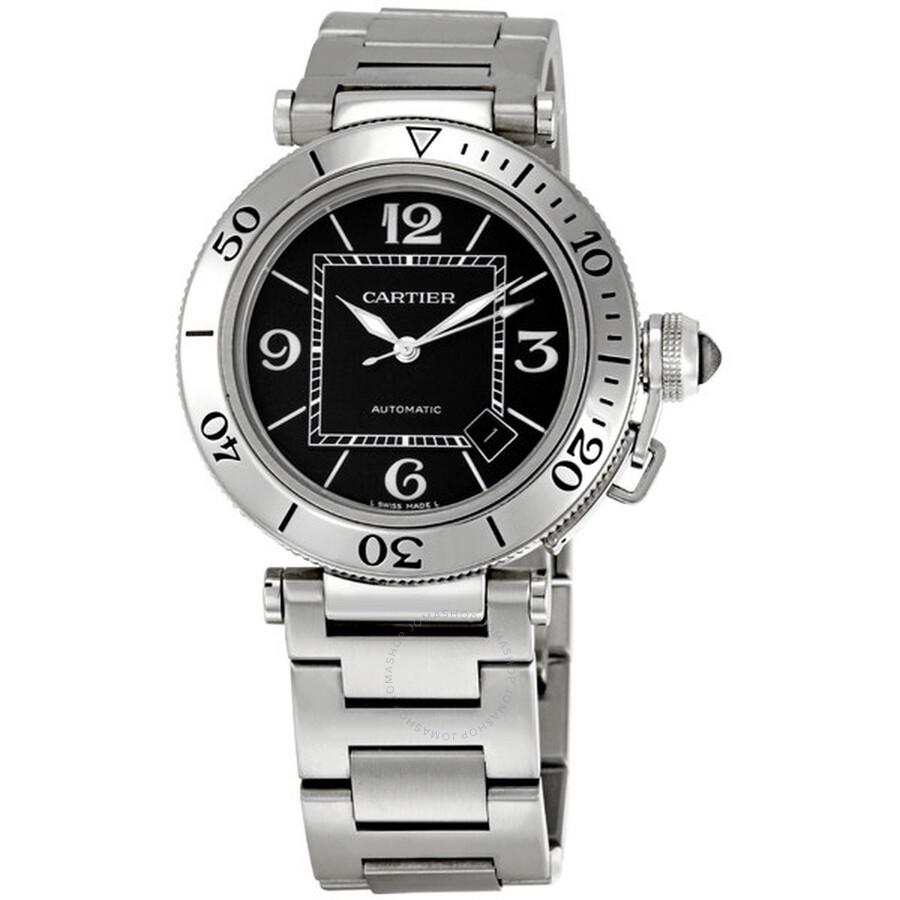 Cartier Pasha Seatimer Automatic Black Dial Steel Men s Watch W31077M7 ... a6284a8d87