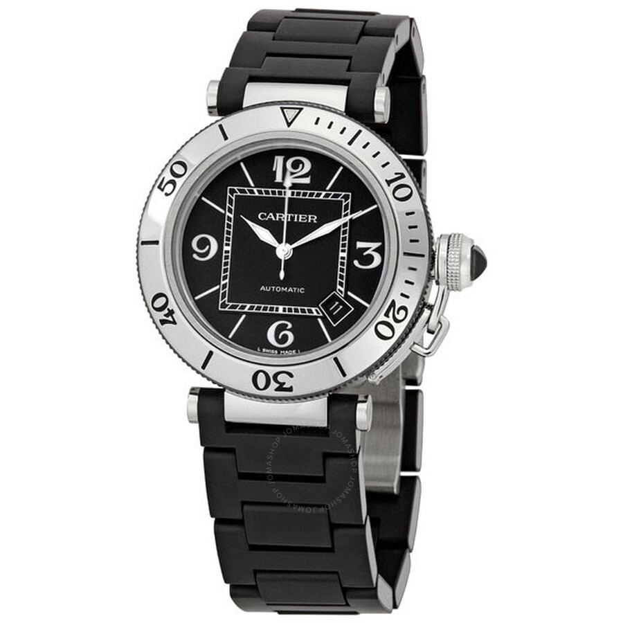 Men's Rubber Cartier Pasha Watch Steel Seatimer W31077u2 HIeE9WD2Y