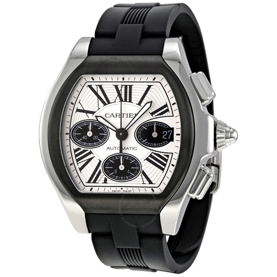 27e90899964 Cartier Roadster Chronograph Silver Dial Black Rubber Automatic Men s Watch  W6206020 ...