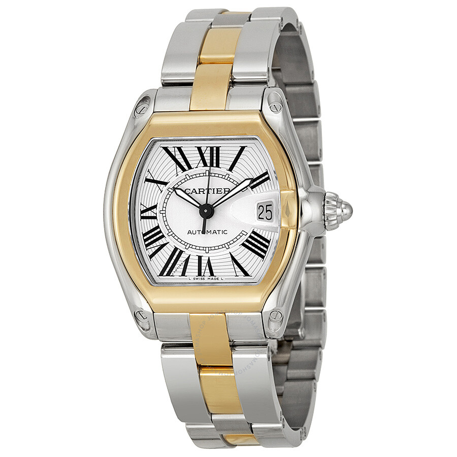 cartier roadster two tone 18kt yellow gold and steel s