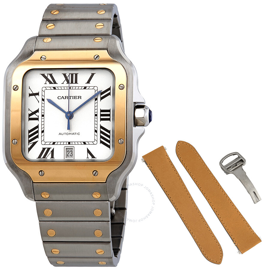 11da4ddc25f Cartier Santos Automatic Silvered Opaline Dial Steel and 18kt Yellow Gold  Men s Watch W2SA0006
