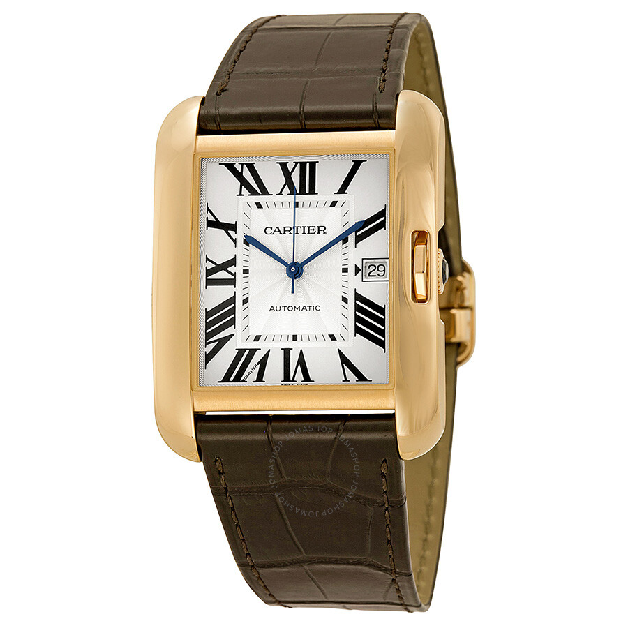 tank anglaise silver dial 18kt rose gold brown leather men's