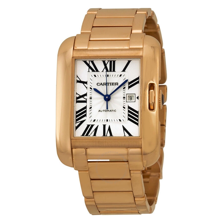 cartier tank anglaise silver dial 18kt rose gold ladies watch w5310003 tank anglaise cartier. Black Bedroom Furniture Sets. Home Design Ideas