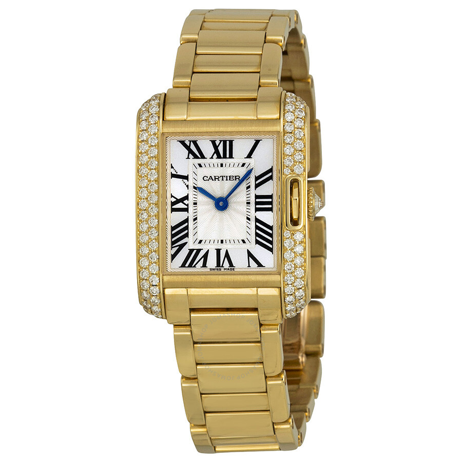 146671cb5223 Cartier Tank Anglaise Silver dial 18kt Yellow Gold Ladies Watch WT100005 ...